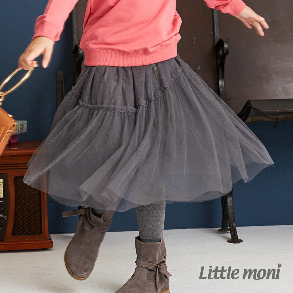 Little moni 假兩件不規則網紗蓬裙-深麻灰(好窩生活節) 1