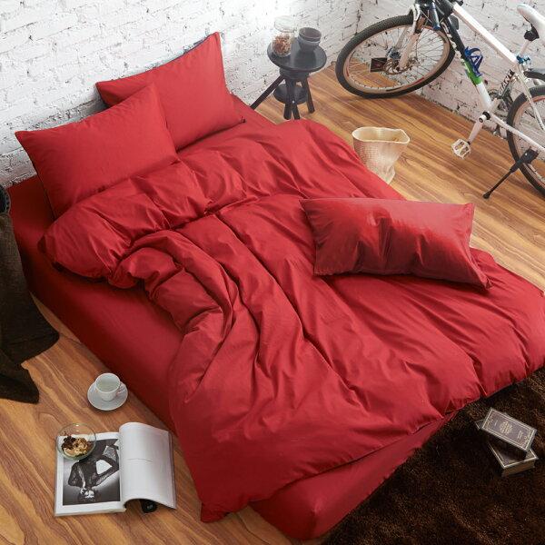 哇哇購:舒柔時尚精梳棉三件式枕套床包組加大大紅哇哇購