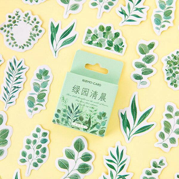 綠園清晨植物盒裝貼紙 手帳貼紙 (45枚入)【BlueCat】【JC3965】