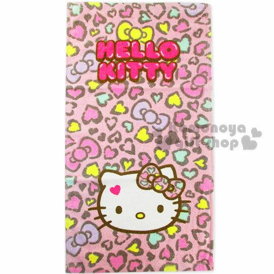 〔小禮堂〕Hello Kitty 大浴巾《粉豹紋滿版.大臉》100%棉