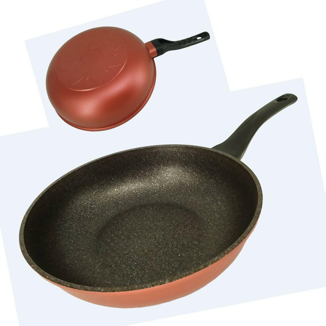 韓國Ecoramic鈦晶石頭抗菌不沾鍋 酒紅色 30cm 大深鍋/珊瑚粉色 30cm 大深鍋  (無附鍋蓋)【樂活生活館】