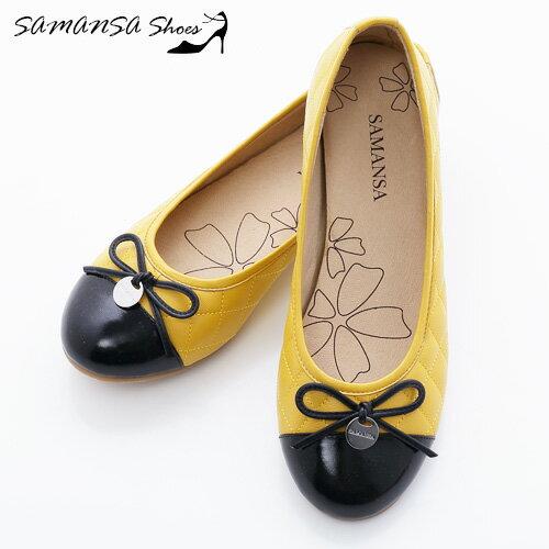 samansa莎曼莎手工鞋:[SAMANSA]全真皮金屬Logo拼色菱紋娃娃鞋--#14102亮麗黃