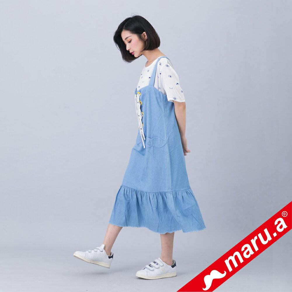 【618購物節】【maru.a】綁帶裝飾魚尾裙襬長洋裝(淺藍) 2