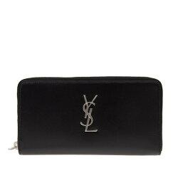 寶思精品正貨保證 Saint Laurent 聖羅蘭 經典 Logo YSL 小牛皮拉鍊長夾