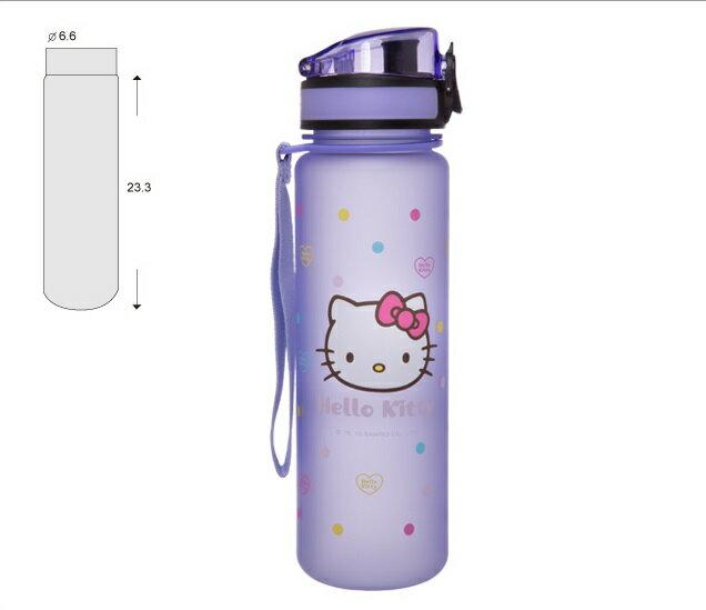 【真愛日本】16062800028怡寶彈蓋水壺500ml-彩色點點紫  三麗鷗 Hello Kitty 凱蒂貓 水壺  水瓶 茶壺