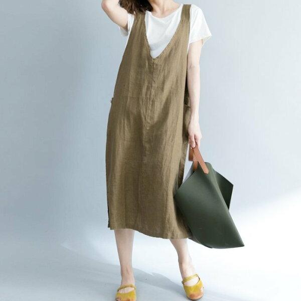 *漂亮小媽咪*慵懶時尚不修邊毛鬚文藝無袖背心裙V領吊帶裙孕婦裝洋裝D3917