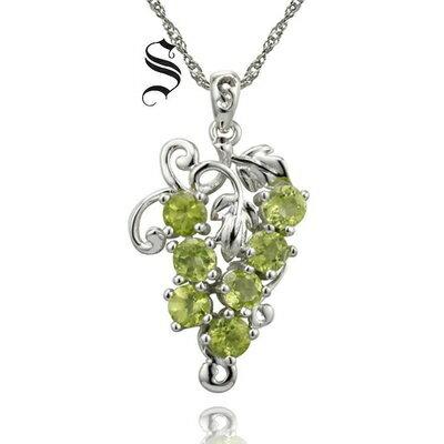 ~925純銀項鍊 橄欖石吊墜~ 葡萄串 七夕情人節 女飾品73de49~ ~~米蘭 ~
