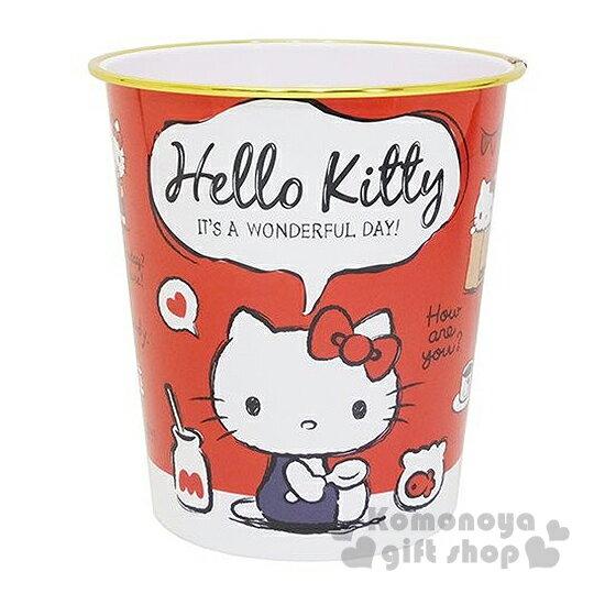 〔小禮堂〕Hello Kitty 圓形垃圾桶《紅.復古.牛奶瓶.側坐吊帶褲》美觀居家