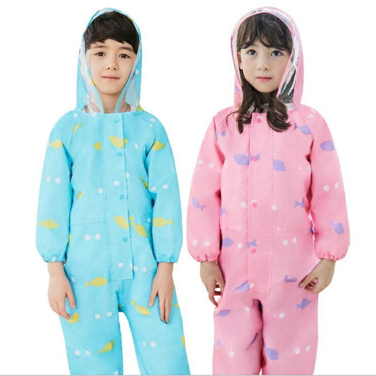 Lemonkid◆ 新款動物貓頭鷹青蛙小熊滿版透明帽沿兒童學生連體式連身雨衣