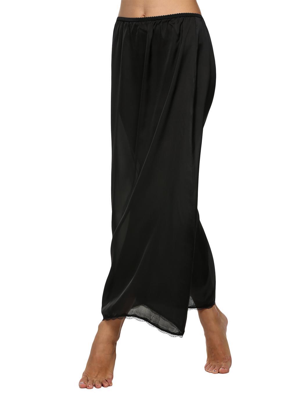 Women Satin Solid Lace Trim Maxi Half Slip Underskirt Slip Skirt 3