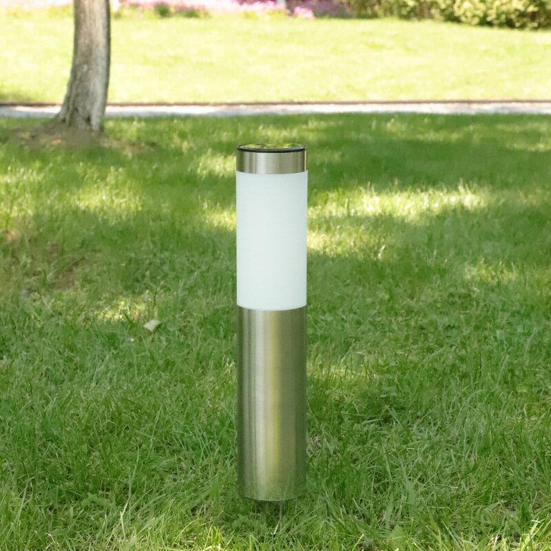 太陽能不銹鋼3led現代庭院室外花園圓柱形戶外防水草坪燈