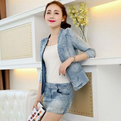 ☆牛仔外套短版夾克-時尚淺色珍珠裝飾女外套73iu113【獨家進口】【米蘭精品】