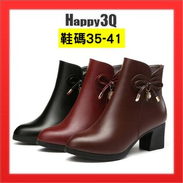 媽媽鞋尖頭皮面真皮鞋綁帶蝴蝶結女鞋子粗跟低跟鞋子-黑棕紅35-41【AAA3865】