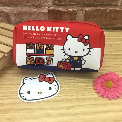 【真愛日本】17041700022 防水布化妝包-KT麵包店 三麗鷗 Hello Kitty 凱蒂貓 收納 化妝包