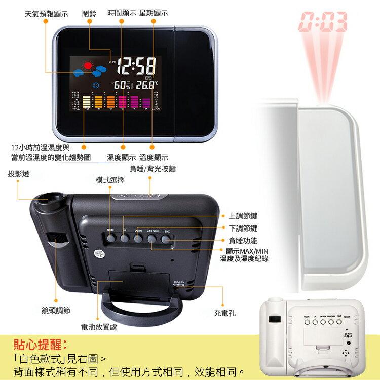 氣象投影時鐘 LCD彩屏背光溫度濕度計貪睡鬧鐘 天氣舒適度時間顯示器180度旋轉投影電子鐘【ZG0109】《約翰家庭百貨 4