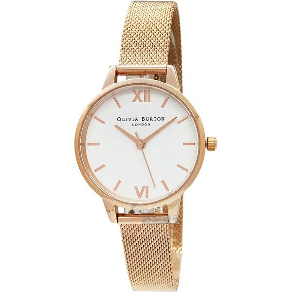 OLIVIABURTONOB16MDW01白面玫瑰金色金屬網狀錶帶女錶30mm【錶飾精品】