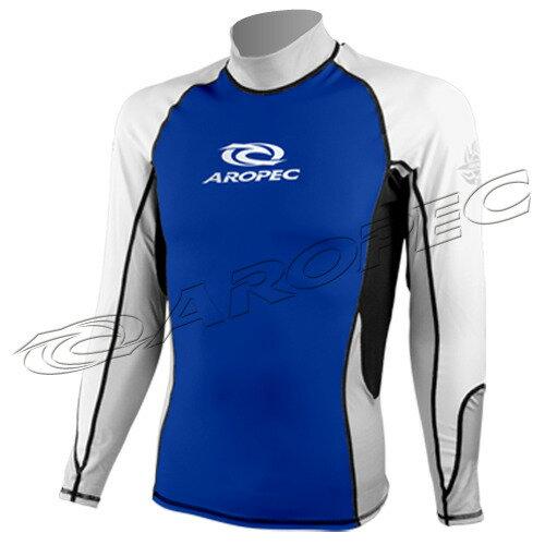 【【蘋果戶外】】AROPECSS-5K10M-BU百分百台灣製品質保證專業四針剪裁抗UV設計款男款長袖萊克衣(藍白銀)