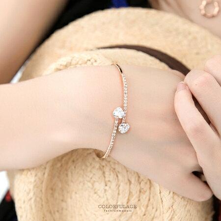 手鍊 心心相印 華麗水鑽愛心雙線玫瑰金手環 華麗小物 柒彩年代【NA255】甜美單品 0