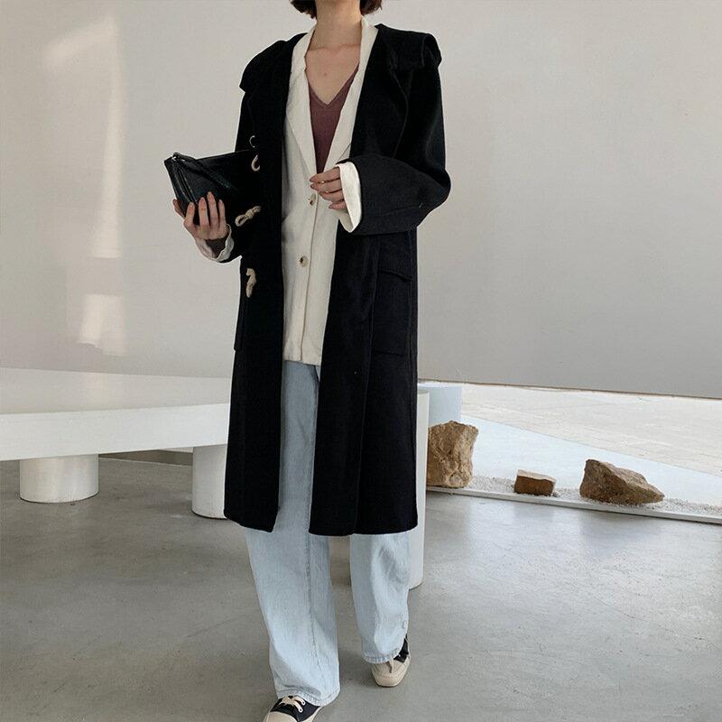毛呢大衣羊毛外套-長版黑色牛角扣連帽女外套73wb13【獨家進口】【米蘭精品】 2