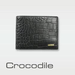 【Crocodile】Croco 義大利植物鞣製皮 鱷魚壓紋短夾 0103-5005
