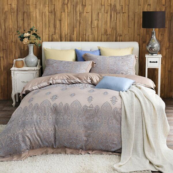 床包被套組天絲緹花四件式雙人薄被套加大床包組香榭戀情[鴻宇]台灣製M2556