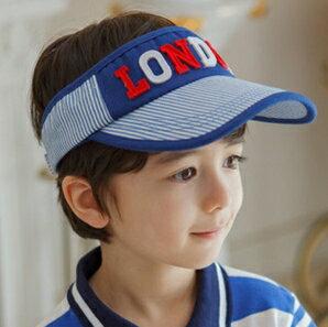 Kocotree◆時尚百搭LONDON字母米字旗圖標細條紋兒童透氣空頂鴨舌棒球帽-藍色