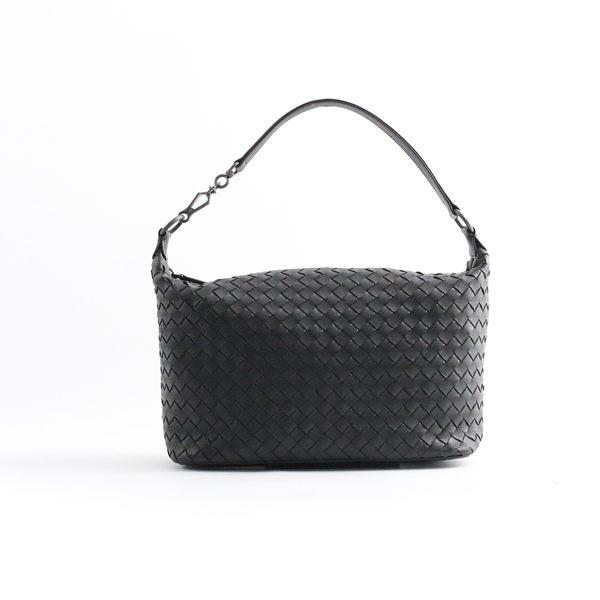 【BOTTEGA VENETA】單把小羊皮肩背手提包( 黑色) 239988 V0016 8175