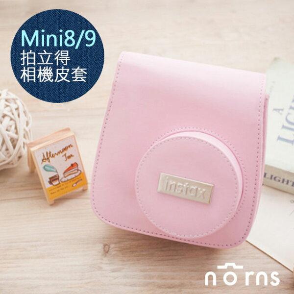 NORNS,【Mini8Mini9富士原廠銀標皮套-粉色】相機包附背帶另售水晶殼