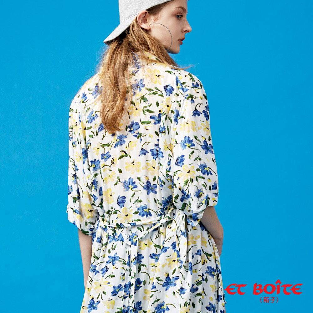 【春夏新品】寬袖開衩收腰長版罩衫(米白花卉) - BLUE WAY  ET BOiTE 箱子 2
