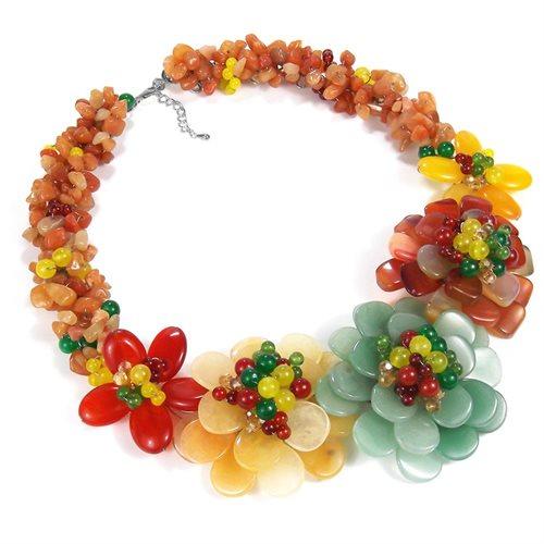 Multicolor Genuine Semiprecious Flower Garland Necklace 1