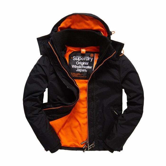 美國百分百【全新真品】Superdry 極度乾燥 Arctic 風衣 連帽 外套 防風 夾克 刷毛 黑色 橘色 F965