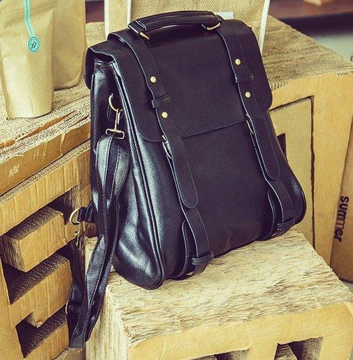【JP.美日韓】韓國 質感 素面 黑色後背包 小包包 外出包 皮革後背包 後背包 小包 中型包男包 登山包