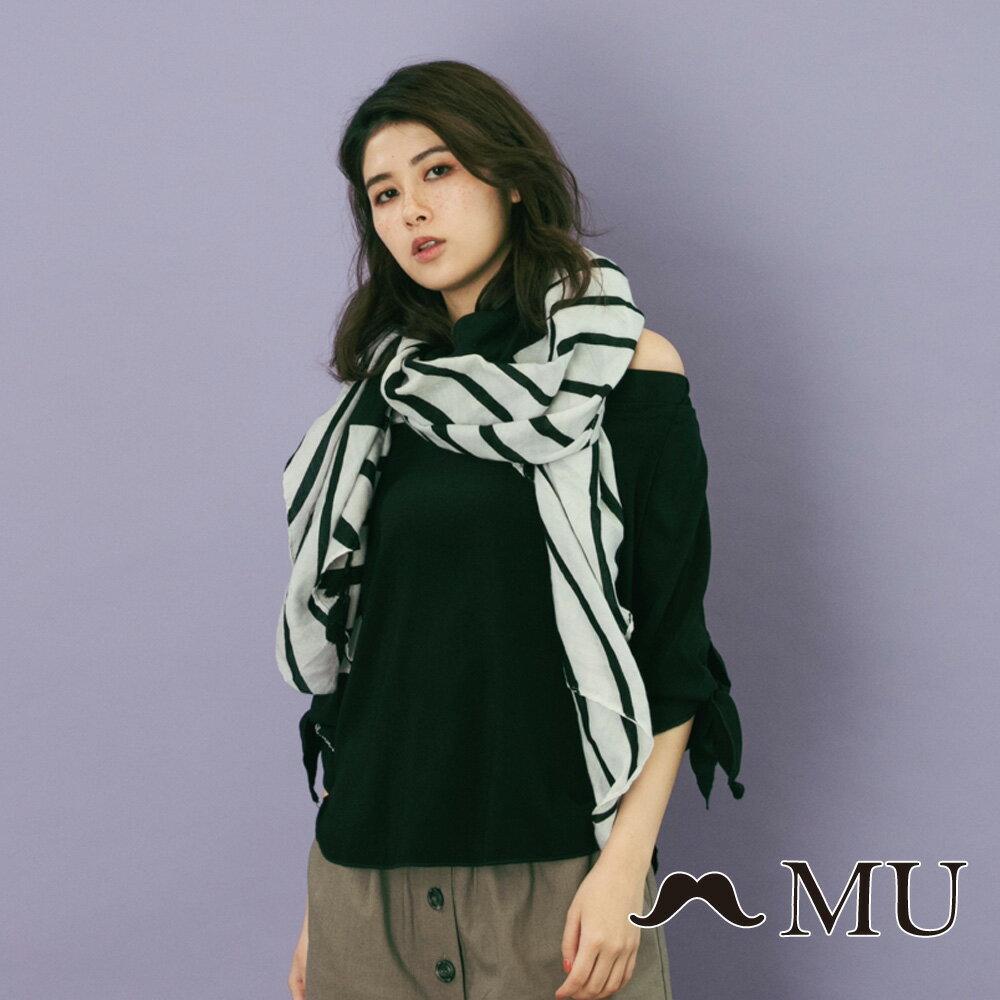 【MU】一字領袖子綁結上衣(2色)8323161 4