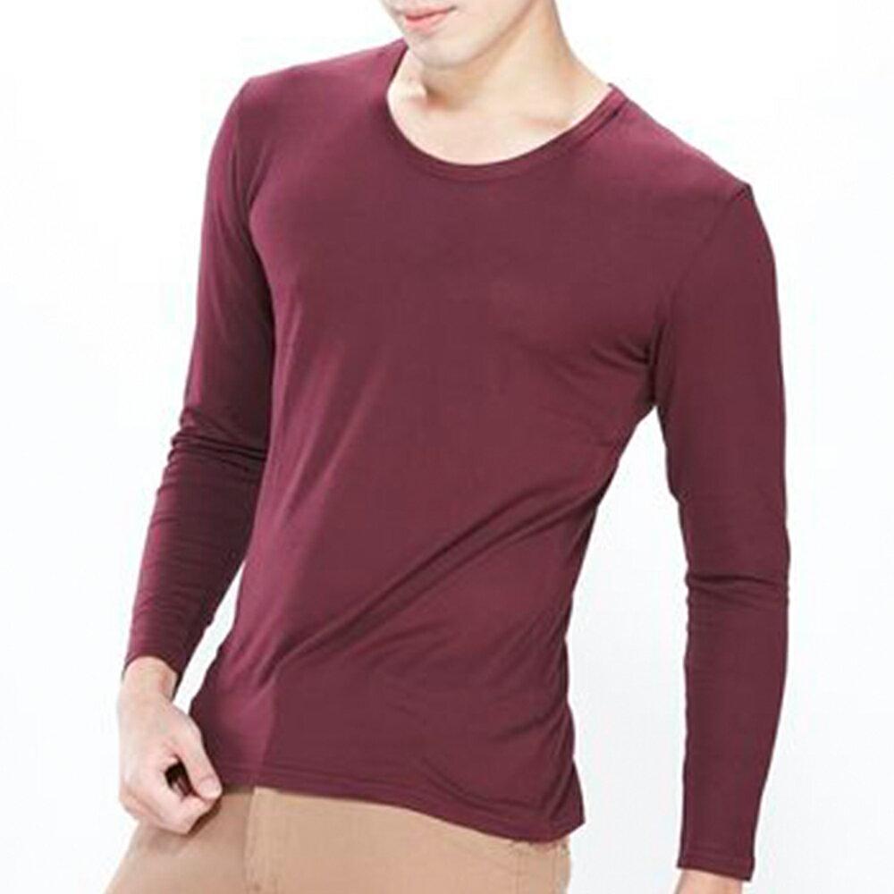 男保暖長袖上衣-輕摩毛系列-圓領-酒紅-1件