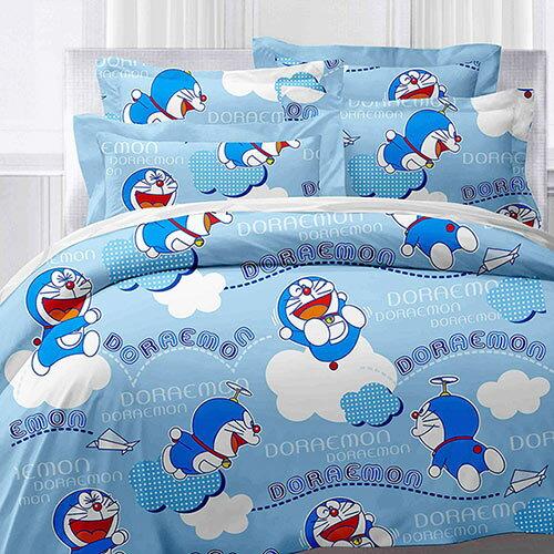 享夢城堡:【享夢城堡】哆啦A夢飛飛樂系列-精梳棉雙人床包兩用被組(藍)