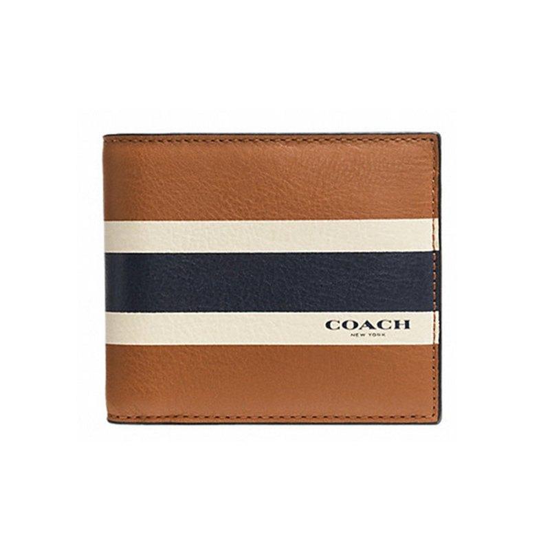 (Smile) COACH 75086 新品男士時尚皮質對比色條紋短款錢包錢夾