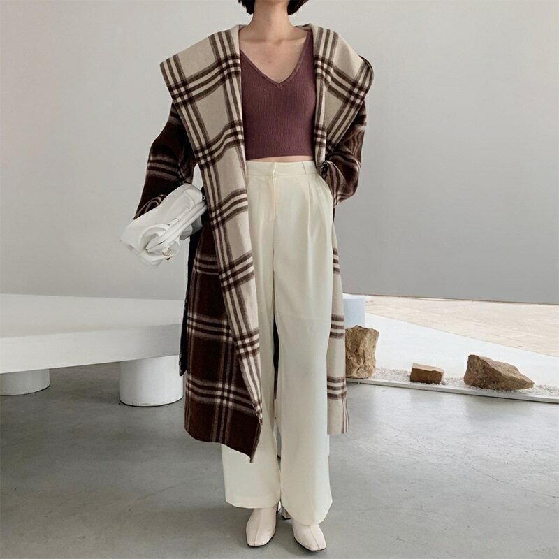 毛呢大衣羊毛外套-雙面穿拼色格紋連帽女外套73wb23【獨家進口】【米蘭精品】 2