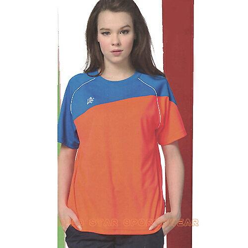 avalok 運動休閒服飾:MILDSTAR男女吸濕排汗短T恤-螢橘藍#AS706325