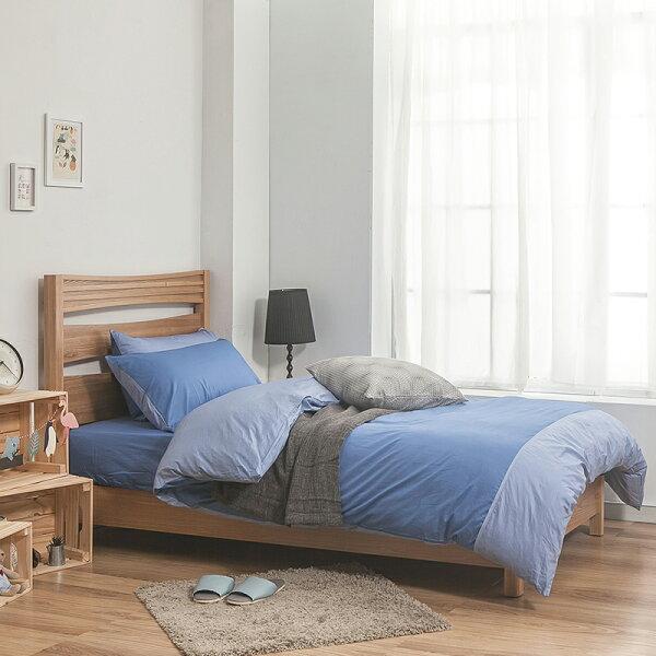 床包被套組雙人特大-100精梳棉【雙色系列-雙色藍】40支含兩件枕套,戀家小舖,台灣製-AAA512-