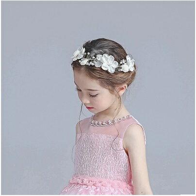 天使嫁衣~童CP28~白色半圓無綁帶珠花 頭飾˙ 訂製款