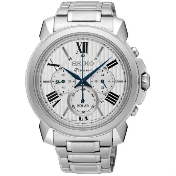 Seiko精工錶PremierV175-0EH0S(SSC595J1)紳士都會太陽能計時腕錶黑面43mm
