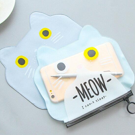 ?MY COLOR? 貓咪造型筆袋 文具 學生 辦公用品 手提袋 收納 零錢包 拉鍊 置物袋 PVC【P177】