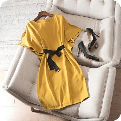 連身裙短袖連衣裙-簡約純色蝙蝠袖圓領女上衣2色73sz20【獨家進口】【米蘭精品】