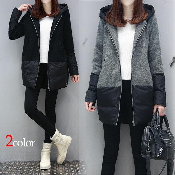 日韓正版H型帶帽羽絨大衣
