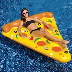 PS Mall 夏日充氣披薩造型成人游泳圈 水上座椅 大號救生圈 漂浮床【J2139】