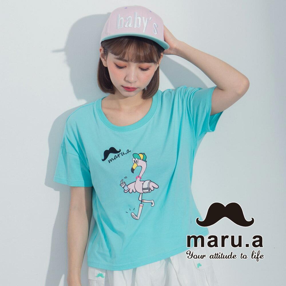 【maru.a】手繪紅鶴印花T-shirt7321237 3