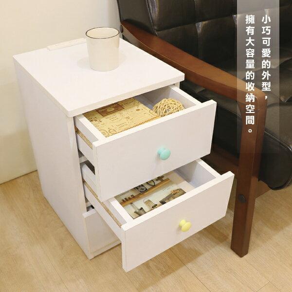 收納櫃 置物櫃 邊櫃 床頭櫃 馬卡龍系列日系床頭櫃(三抽屜-大款) (附插座) 天空樹生活館 5