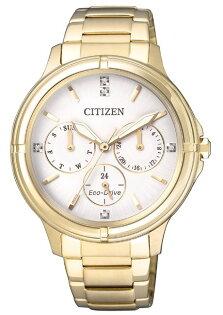 CITIZEN星辰錶FD2032-55A甜美風光動能三眼時尚女錶金39mm