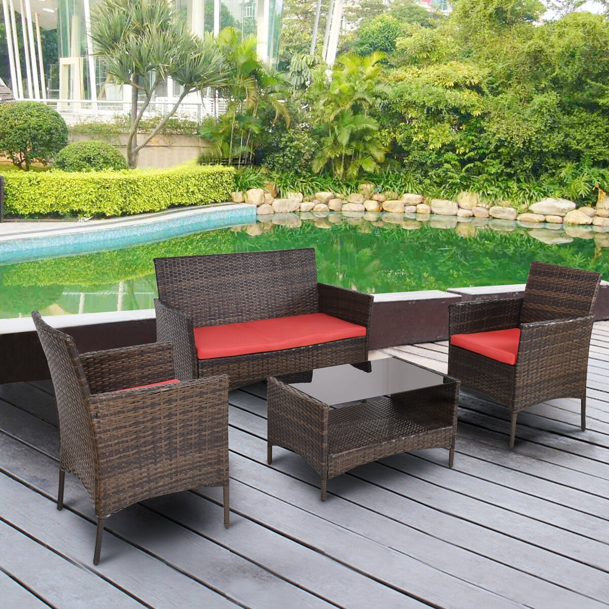 Costway Costway 4 Pcs Outdoor Patio Rattan Furniture Set Table