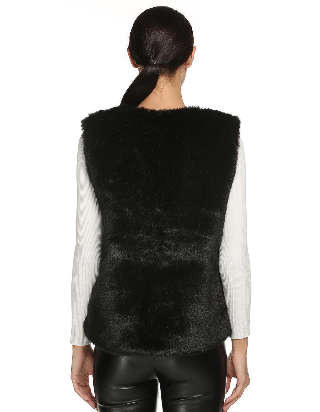 Women Sleeveless Casual Faux Fur Vest Warm Coat 1